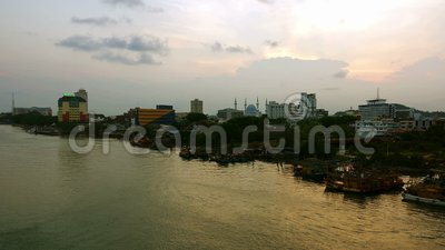 Kuantan city skyline during beautiful sunset stock video footage