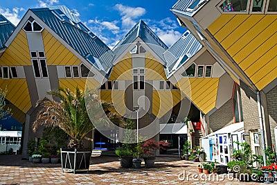kubieke huizen in rotterdam royalty vrije stock foto