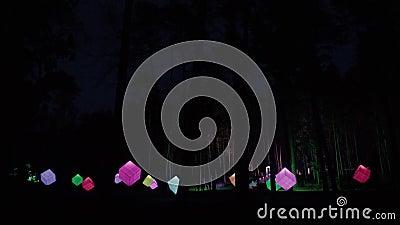 Kubieke lichtbronnen in het nachtpark