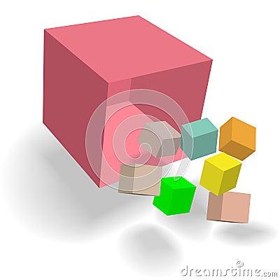 Kubikabstrakt begrepp för fall 3D för kuber för ymnighetshornaskblock
