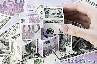 Kubussen van euro en dollars