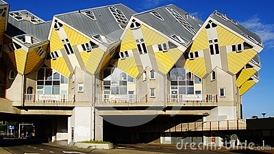 Kubuswoningen, or Cube houses in Rotterdam. Editorial Photography