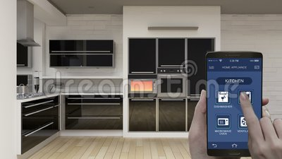Kuchenna izbowa Domowych urządzeń kontrola w mobilnym zastosowaniu, mądrze telefon, energooszczędna wydajność, piekarnik, interne royalty ilustracja