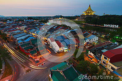 Kuching city in the evening