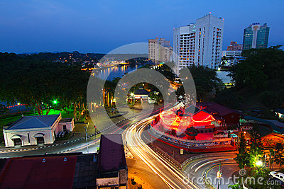 Kuching city at night Editorial Photography