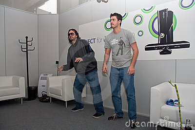 Kudo Tsunoda and Kinect at GamesCom 2010 Editorial Stock Image