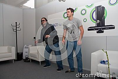 Kudo Tsunoda and Kinect at GamesCom 2010 Editorial Stock Image