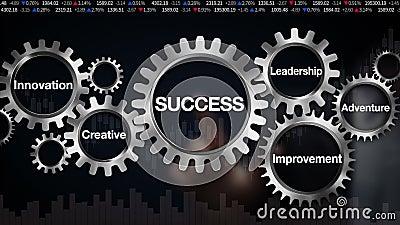 Kugghjul med nyckelordet, ledarskap, innovation som är idérik, affärsföretag, förbättring Affärsmanpekskärm'FRAMGÅNGAR
