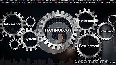 Kugghjul med nyckelordet, system för informationsledningutveckling, lösningar Affärsmanpekskärm 'teknologi',