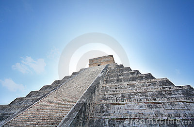 Kukulcan Mayan pyramid at sunrise, Mexico