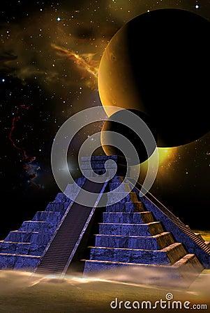 Kukulkan pyramid and planets