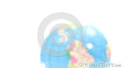 Kulört plast- jordklot Defocus på nordlig halvklot/karibiskt, Sydamerika stock video