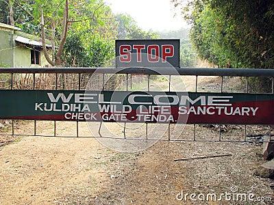 Kuldiha Wildlife sanctuary gate Editorial Stock Photo