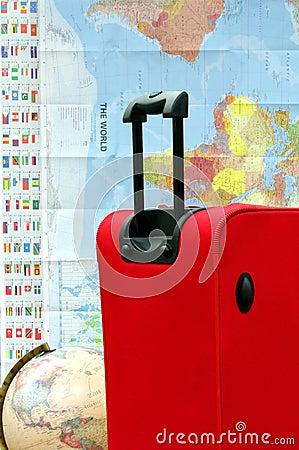 Kuli ziemskiej bagażu mapy walizki podróż