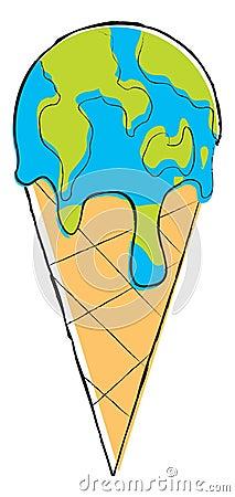 Kuli ziemskiej lody stapianie