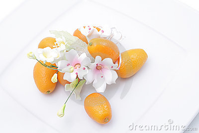 Kumquats and flower