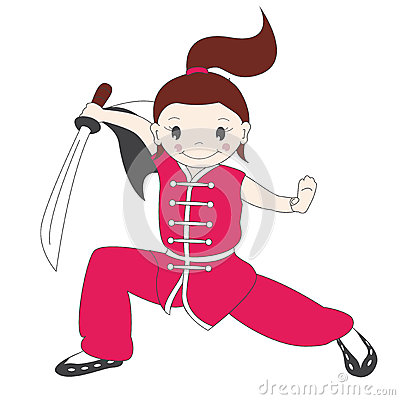Kung fu girl with sword