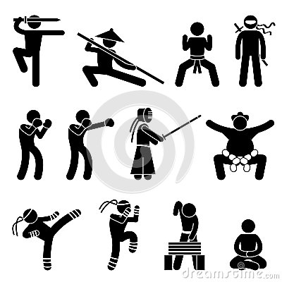 Free Kung Fu Martial Arts Self Defense Pictogram Royalty Free Stock Photo - 25897775