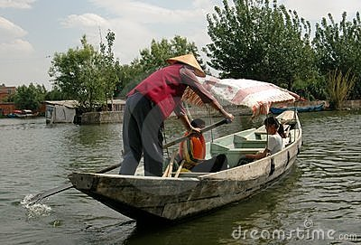 Kunming, China: Boatman on Dian Chi Lake Editorial Image