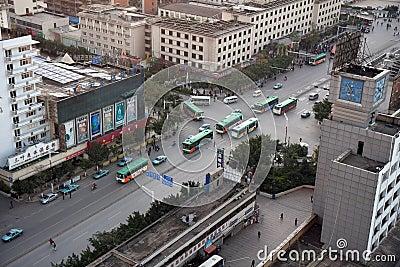 Kunming City Rush Hour Editorial Stock Photo