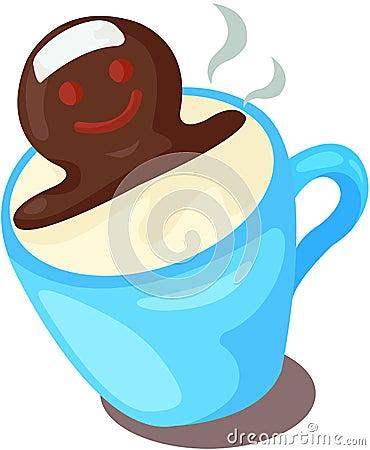 Kupa av mjölkar med choklad