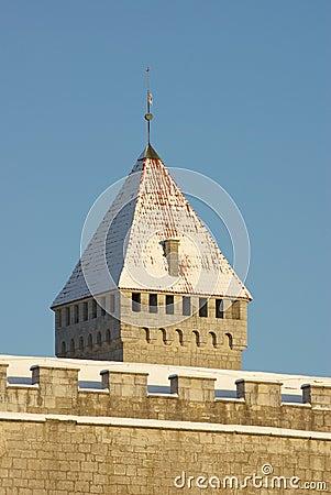 Kuressaare Castle Tower in Bright Winter Colors