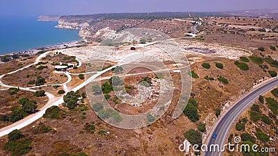 Kurion rudert Cyprus aerial 4k stock video