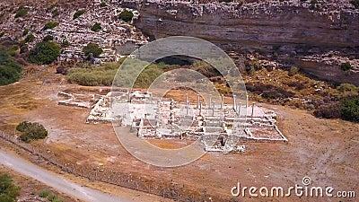 Kurion ruins Cyprus Aerial 4k stock video