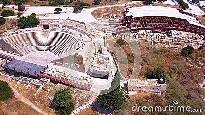 Kurion ruins Cyprus Aerial 4k lager videofilmer