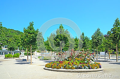 Kurpark in Baden bei Wien, Austria. Editorial Stock Photo