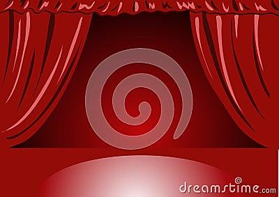 Kurtyna teatru czerwonego aksamitu