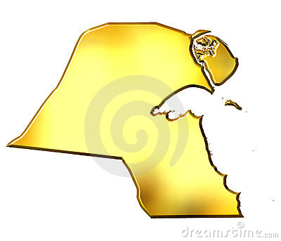 Kuwait 3d Golden Map