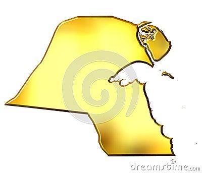 Kuwait 3d Golden Map