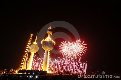 Kuwait Towers Fire work