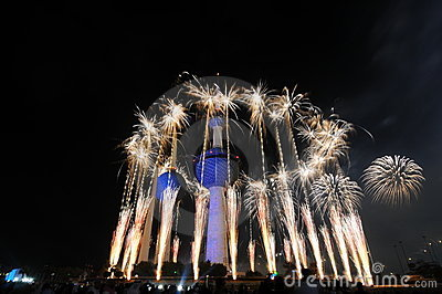 Kuwait Towers Fire work