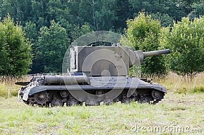 Kv-2 tank on the field