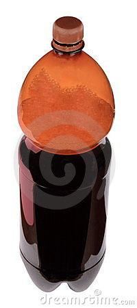 Kvass in bottle with brown cup
