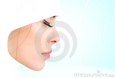 Kvinna för profil för skönhetmuslimfoto sinnlig
