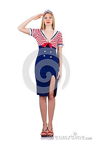 Kvinna i sjömandräkt
