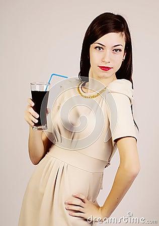 Kvinna med exponeringsglas