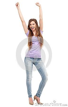 Kvinna med lyftta armar