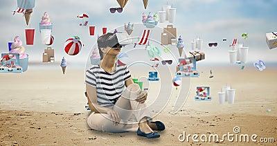 Kvinna som använder virtuell verklighethörlurar med mikrofon med digitalt frambragda efterrättsymboler 4k lager videofilmer