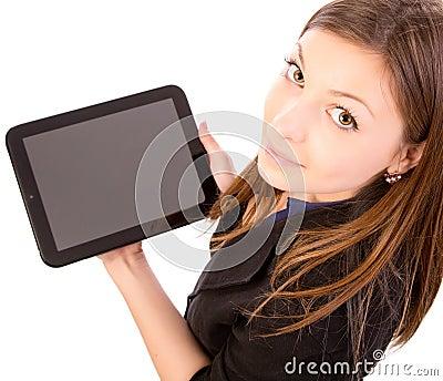 Kvinna som använder Tabletdatoren eller iPad