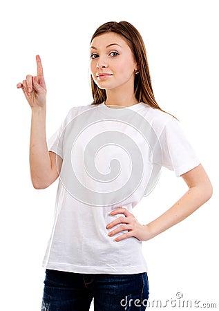Kvinna som pekar upp