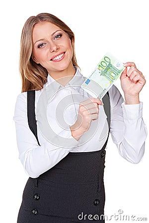 Kvinna som rymmer hundra euros