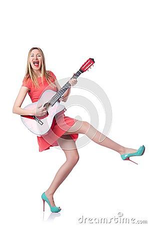 Kvinnlig gitarrspelare