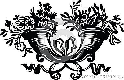 Kwiatów wypełniający rogi
