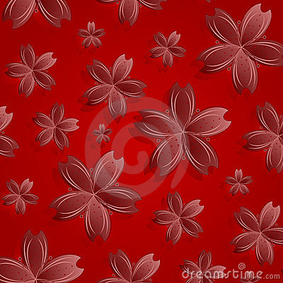 Kwiaty deseniują czerwień