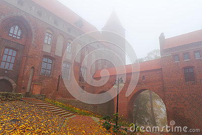 Kwidzyn castle and cathedral in foggy weather