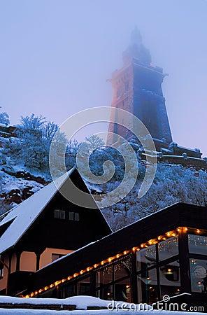 Kyffhauser Monument and illuminated restaurant